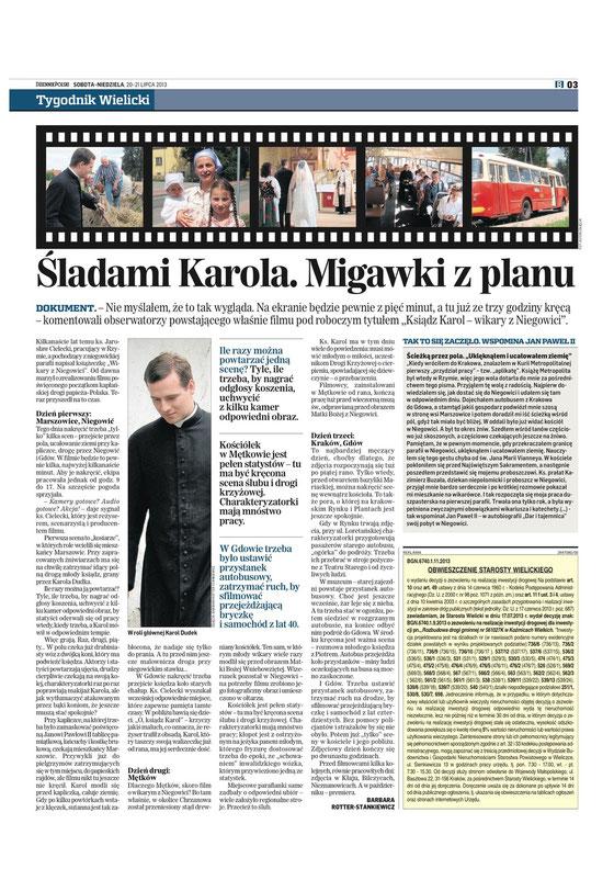 Śladami Karola. Migawki z planu - http://www.dziennikpolski24.pl