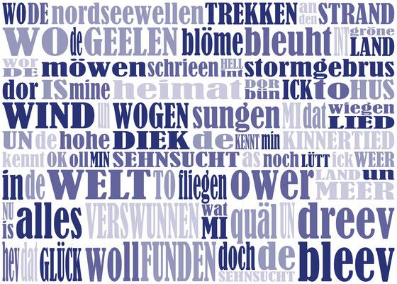 gestaltung wand (text: friesenlied) für NORDSEE berlin (für möller mainzer architekten)
