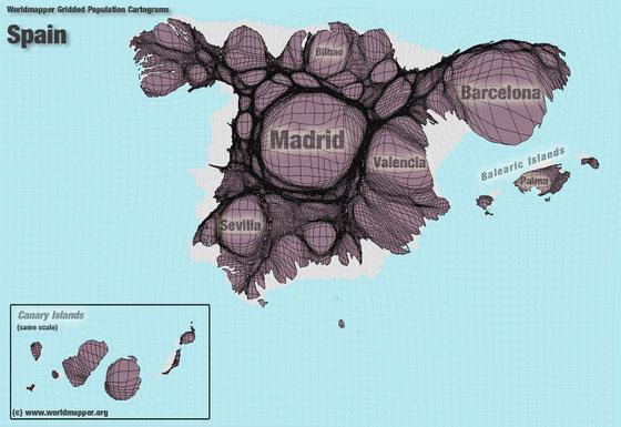 Mapa de España según población