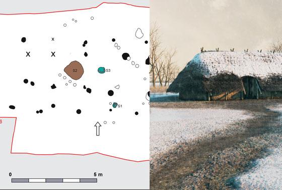 De paalsporen van de bronstijdboerderij aangetroffen in Den Haag en daarnaast de reconstructie door Archeo3D (Bulten en Boonstra 2013).