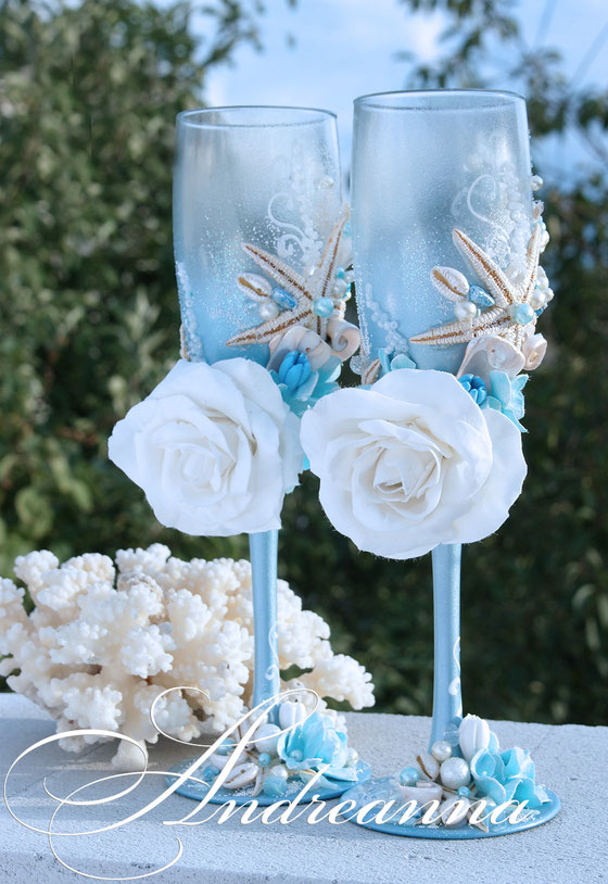 Бокалы «Морская роза» стоимость 800грн, в любом желаемом цветовом решение.