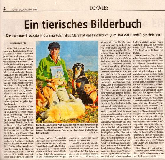 Bericht in der Elbe-Jeetzel-Zeitung über Clara Corinna Pelch und ihr Buch Omi hat vier Hunde