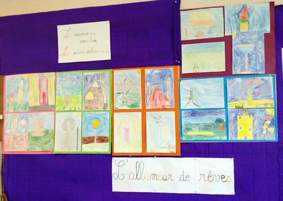 """dessins autour de """"l'allumeur de rêves"""" par la classe de CE2"""