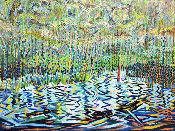 Am Wasser, 2015 (Öl auf Leinwand, 120 x 180 cm)