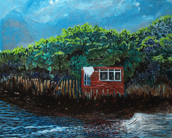 Unterkunft an der Liebe, 2008 (Öl auf Folie/Alu, 115 x 145 cm)