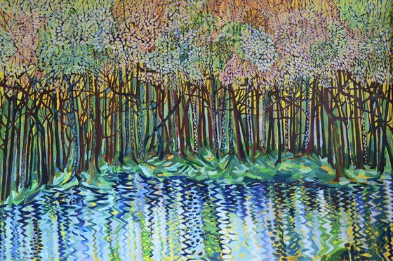 Wald am Weiher, 2015 (Öl auf Leinwand, 120 x 180 cm)