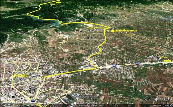 Map Directions Hotel Gracanica - pristina map