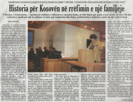 Buchpräsentation Elisabeth Kaestli im Hotel Gracanica, Pristina / Prishtina