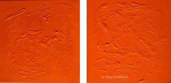 Acrylbild, acryl, collage, orange, bild, malen, malerei, kunst, geko, dekoration, wandbild, abstrakt