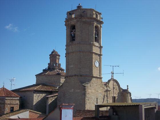 vista de la torre de la iglesia de Serós con la colonia de cigüeñas