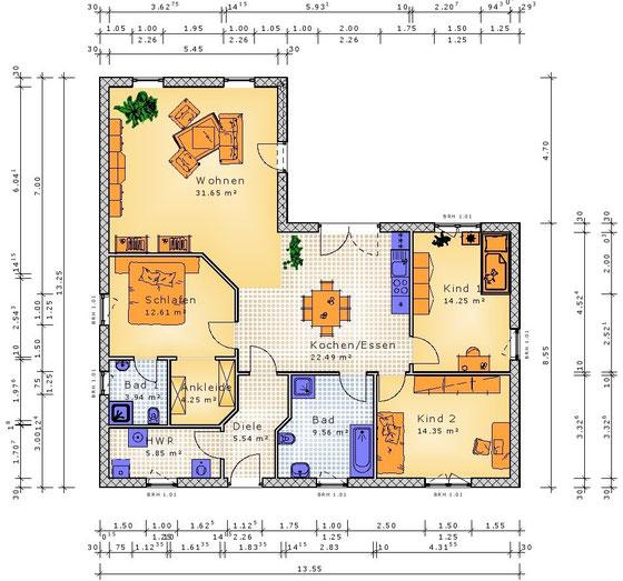 Grundriss 124 Variante meistens mit überdachter Terrasse (klick vergrößern)