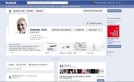 Facebook-Seite vom Texter aus Düsseldorf: Thomas Kadanik