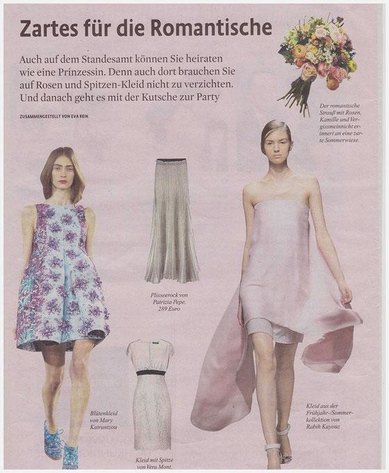 aus dem Magazin des Kölner Stadt-Anzeigers vom 25.04.2014 mit Brautsträußen von Blumen von Steiner
