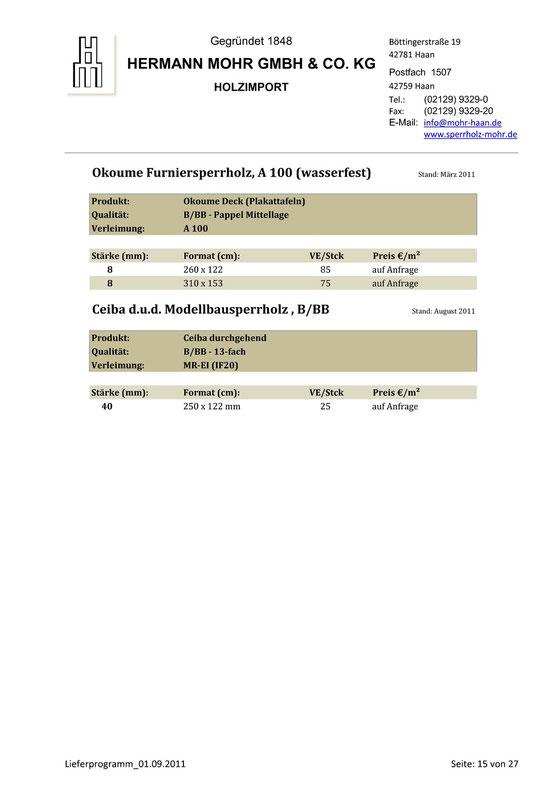 Lieferprogramm Gabun/Okoume Furniersperrholz A100