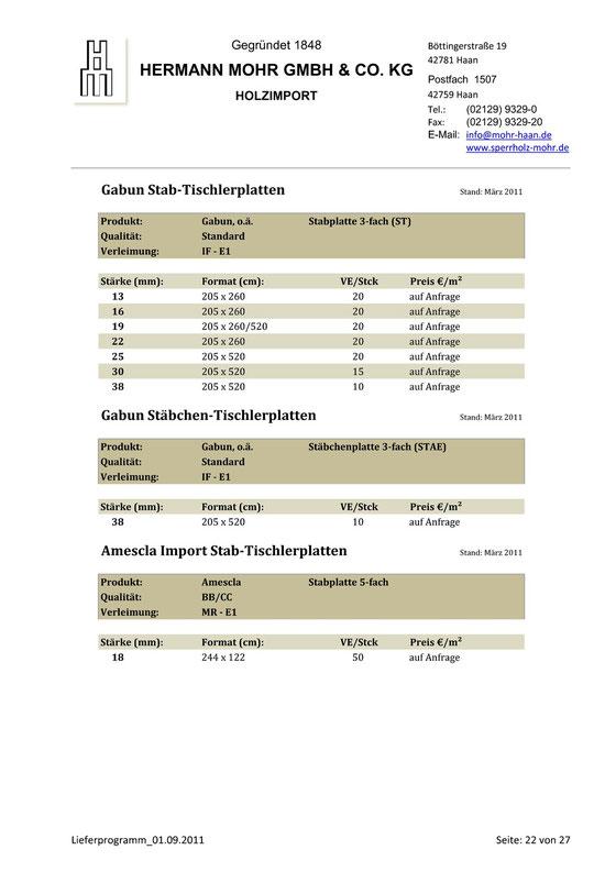 Lieferprogramm Stäbchen 3-fach Gabun Tischlerplatten
