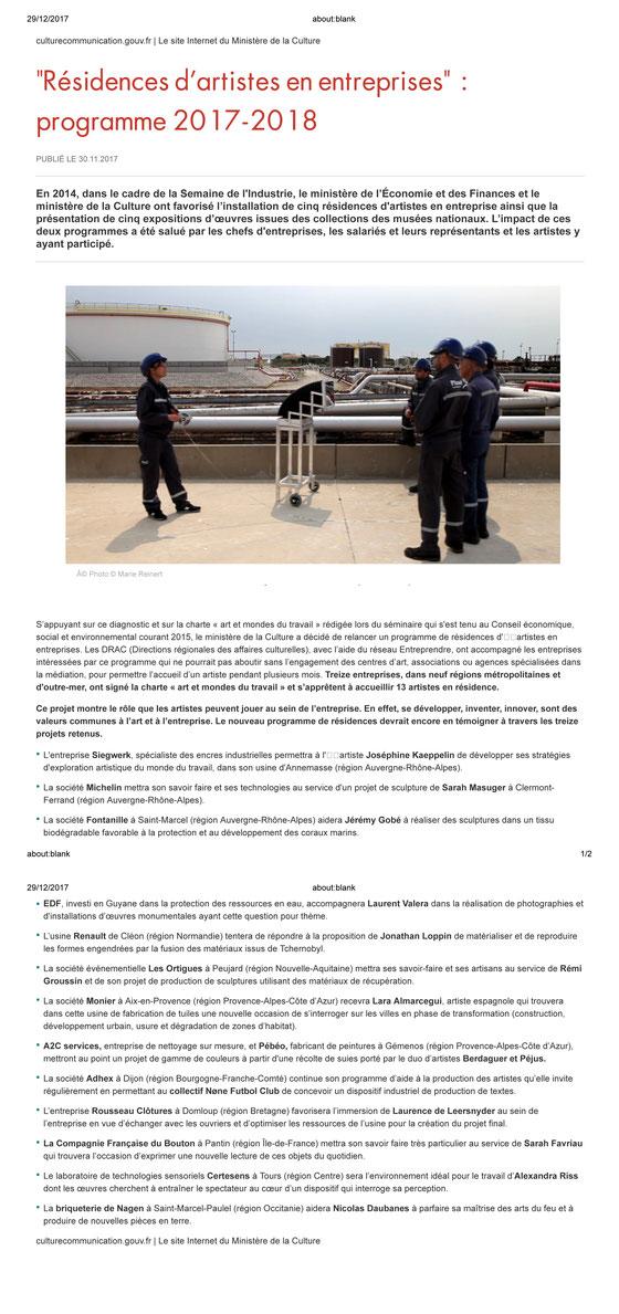 """Annonce des projets lauréats des """"Résidences en entreprises"""" du Ministère de la Culture - décembre 2017"""