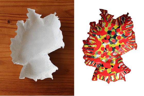 Allemagne, dim. 28,50cm x 21,50cm x 5cm, papier mâché, peinture en pluies colorées