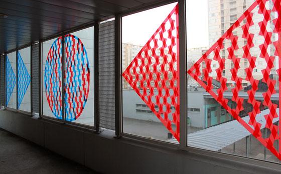 """"""" Flux de la cohésion"""", collage de ruban adhésif, 2017"""
