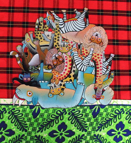 Kilimandjaro d'animaux, collage sur tissus traditionnels tanzaniens, dim. 32cm x 30cm, octobre 2016.