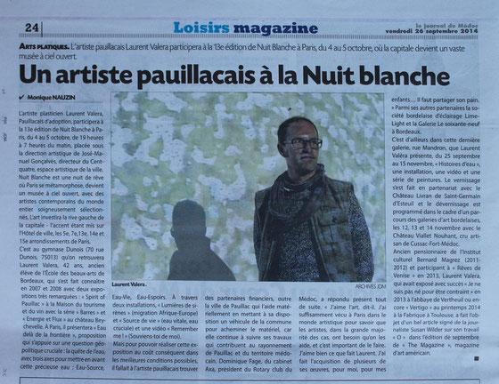 Journal du Médoc du 26 septembre 2014.