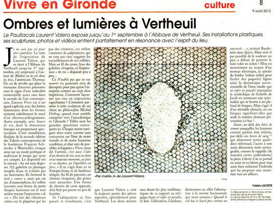 Le Courrier de Gironde, 9 Août 2013.