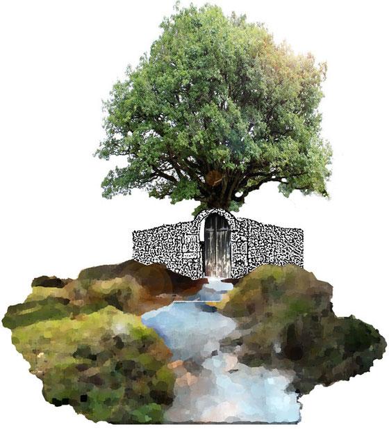 POur la nouvelle édition du Prix de la Fondation François Schneider à Wattwiller Laurent Valera propose cette installation qui ramène l'eau dans sa dimension sacrée et magique