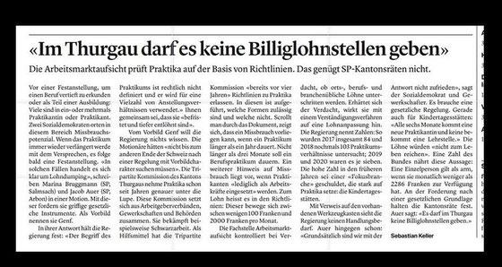 Thurgauer_Zeitung_keine_Billiglohnstellen_Kantonsrätin_05022021