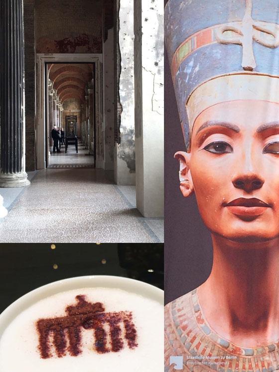 Fotocollage: Bröckelnder Putz an Säulen im Neuen Museum, Plakat von Nofrete und das Brandenburger Tor in Kakao