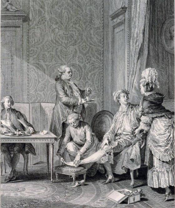 Le Lever 1781. Ein adliger Herr beim morgendlichen Aufstehritual. Serviert wird frisch aufgeschäumte Schokolade, während der Herr mit einer Parfümeurin schäkert.