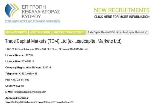 Trade Capital Markets (TCM) Ltd (ex Leadcapital Markets) trade.com autorizzazione licenza cysec