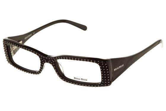 Occhiali da vista donna MiuMiu 09CV 1AB1O1. Colore: Nero. Forma: rettangolare. Materiale: plastica.