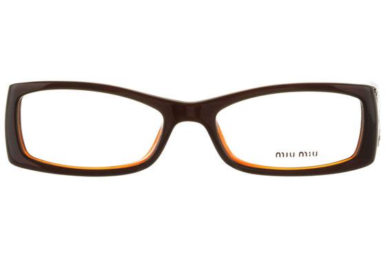 Occhiali da vista donna MiuMiu 04DV 6BY1O1. Colore: nero e arancio. Forma: squadrato. Materiale: plastica.