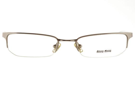 Occhiali da vista donna MiuMiu 51A 1AP1O1. Colore: argento. Forma: squadrato. Materiale: metallo.