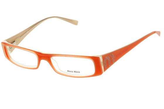 Occhiali da vista donna MiuMiu 07DV 7AM1O1. Colore: arancio. Forma: rettangolare. Materiale: plastica.