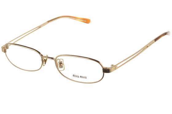 Occhiali da vista donna MiuMiu 54A 5AK1O1. Colore: oro. Forma: ovale. Materiale: metallo.