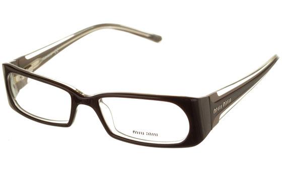 Occhiali da vista donna MiuMiu 02DV 5BM1O1. Colore: nero e trasparente. Forma: squadrato. Materiale: plastica.