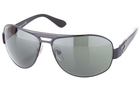 Occhiali da sole uomo Persol Modello: 2261-S. Colore: 594/31 nero. Colore lenti: verde. Calibro 62-14. Forma: Pilot. Materiale: metallo. Protezione UV 100%