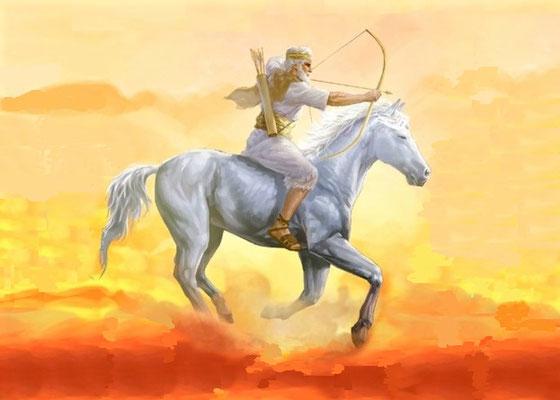 Le cheval blanc est un symbole de guerre juste menée au nom de Dieu. Le cavalier porte une couronne, il est donc roi. Il part en vainqueur pour remporter la victoire et la Bible déclare que Jéhovah donnera la victoire à son roi. Il s'agit de Jésus-Christ.
