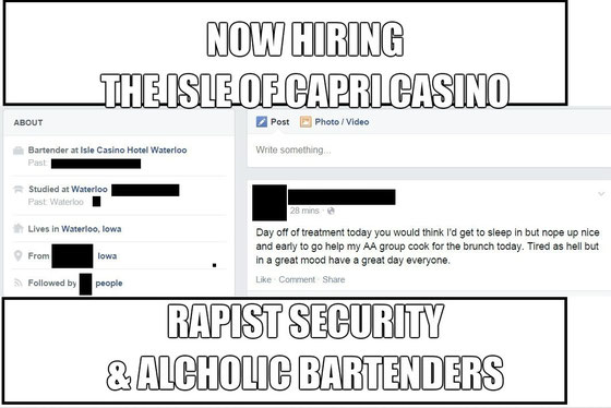 Facebook post of Alcoholic employed as bartender at Isle of Capri.