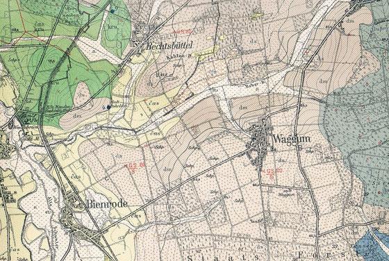 Geologische Karte vom Norden Braunschweigs