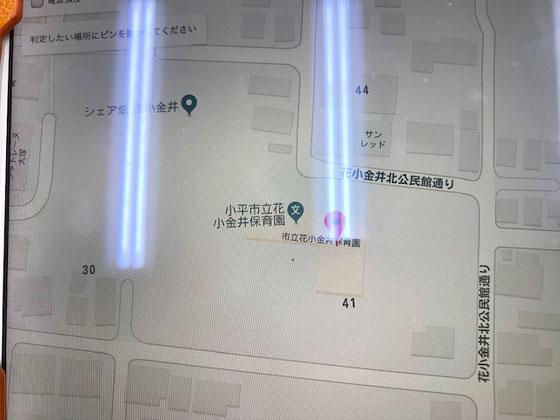 ☆住所を入力してのピンポイント判定の結果、花小金井北公民館付近は「〇~△」。無線環境良くない。