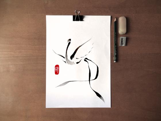 Grue / Motif tattoo - Lizz Maple - encre sur papier