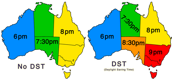 Zeitzonen Australiens