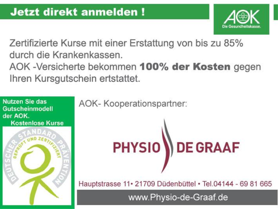 Physio de Graaf ist Kooperationspartner der AOK