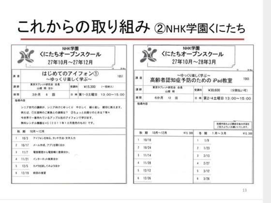 ☆写真の左側は「はじめてのアイフォン講座」。右側は「高齢者認知症予防のためのiPad講座」。