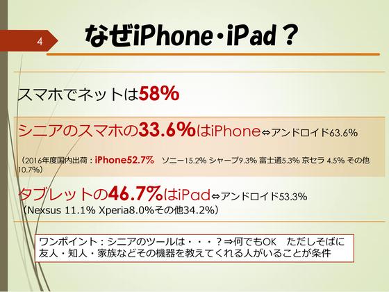☆シニアSOHO世田谷は「なぜiPhone・iPadなのか?」をデータに基づてご説明。