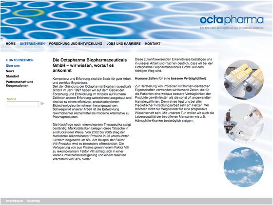 Webseite: Octapharma