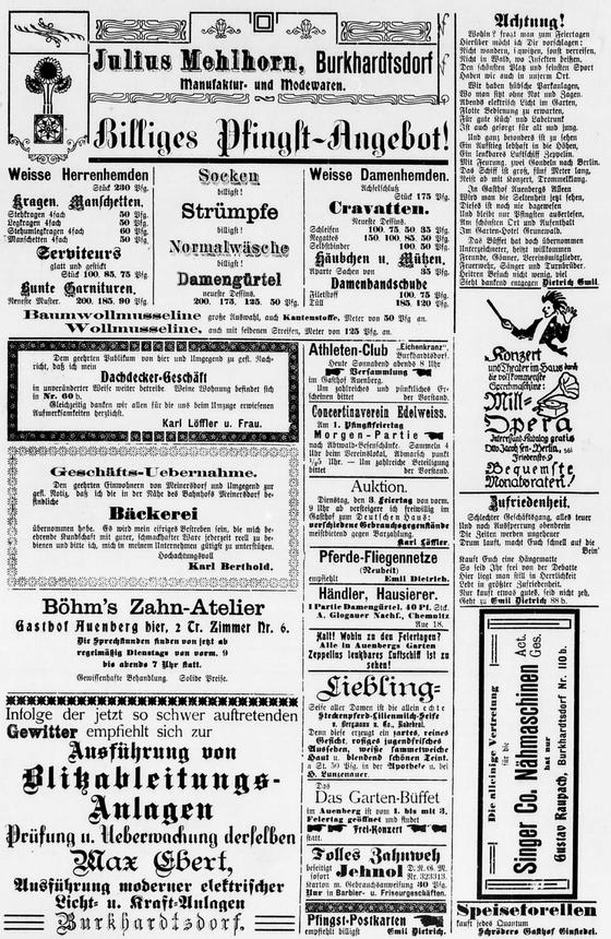 Rückseite der Beilage mit dem Werbeteil für Pfingsten 1908