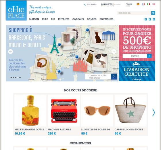 ヨーロッパでのめずらしいショップを集めたwebです。www.chicplace.com