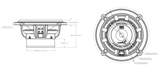 Skizze Audiofrog GB60 Lautsprecher